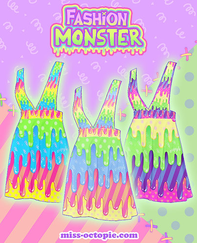 """Fashion Monster"" Drippy Plunge Pinafore Skirt"