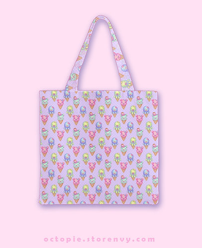 "Pink ""IceCreamy BearCones"" Wide Tote Bag"