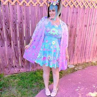 "🌸 Blue ""OctoParty"" Skater Dress 🌸 Pink ""Starry Eyes"" Kimono Peignoir"