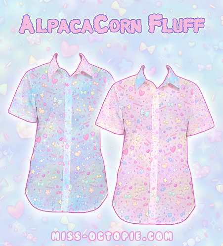 """AlpacaCorn Fluff"" Button-Up Shirt"