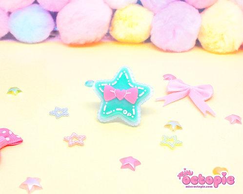 Mint Star Glitter Ring