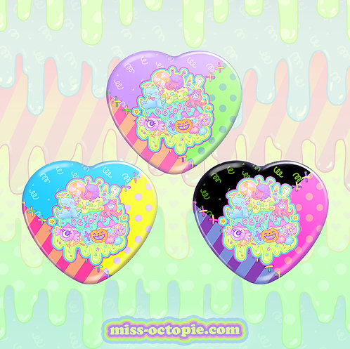 "Fashion Monster 2.25"" Heart Button"