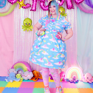 """🌈 """"DreamyOcto"""" Short Sleeve Cut Out Dress 🌈 Pink """"OctoParty"""" Tights 🌈 Yellow, Green, and Red Decora Octopie hair accessory 🌈 """"AlpacaCorn Fluff"""" Large Necklace 🌈 Pink OctoBaby Earrings"""