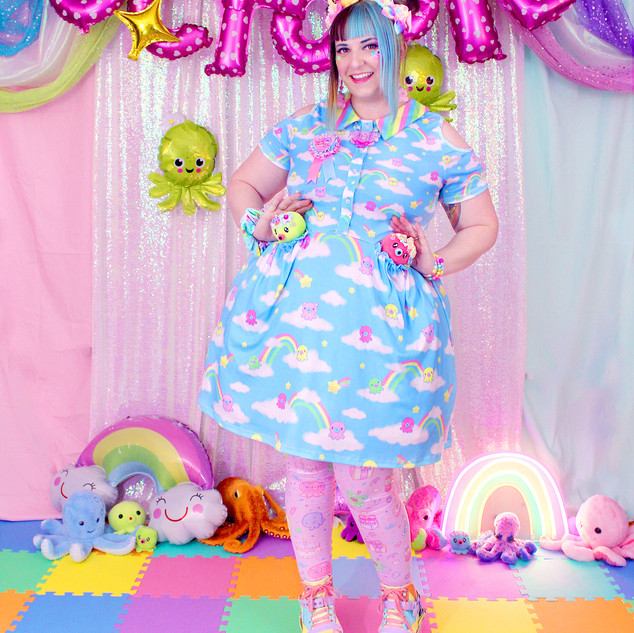 "🌈 ""DreamyOcto"" Short Sleeve Cut Out Dress 🌈 Pink ""OctoParty"" Tights 🌈 Yellow, Green, and Red Decora Octopie hair accessory 🌈 ""AlpacaCorn Fluff"" Large Necklace 🌈 Pink OctoBaby Earrings"
