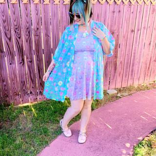 "🌸 Pink ""IceCreamy Bearcones"" Skater Dress 🌸 Blue ""OctoParty"" Kimono Peignoir"