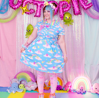 """🌈 """"DreamyOcto"""" Short Sleeve Cut Out Dress 🌈 Pink """"OctoParty"""" Tights 🌈 Yellow Decora Octopie hair accessory 🌈 """"AlpacaCorn Fluff"""" Large Necklace 🌈 Pink OctoBaby Earrings"""