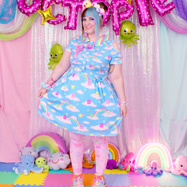 "🌈 ""DreamyOcto"" Short Sleeve Cut Out Dress 🌈 Pink ""OctoParty"" Tights 🌈 Yellow Decora Octopie hair accessory 🌈 ""AlpacaCorn Fluff"" Large Necklace 🌈 Pink OctoBaby Earrings"