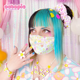 "🌸 ""Daisy Cute"" White Ring, Necklace, Bracelet 🌸 Yellow ""Daisy Cute"" Face Mask 🌸 Pink ""Daisy Cute"" Velvet Scrunchie"