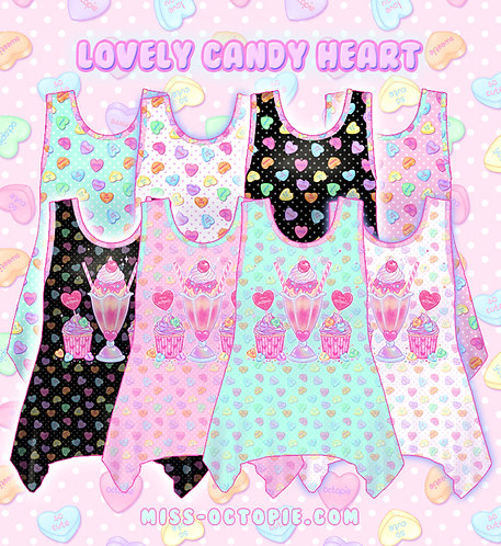 """Lovely Candy Heart"" Side Flare Tank Top"