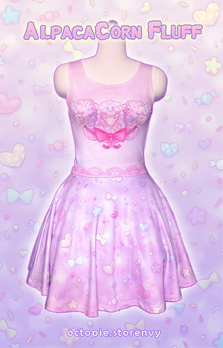 """AlpacaCorn Fluff"" Sleeveless Skater Dress"