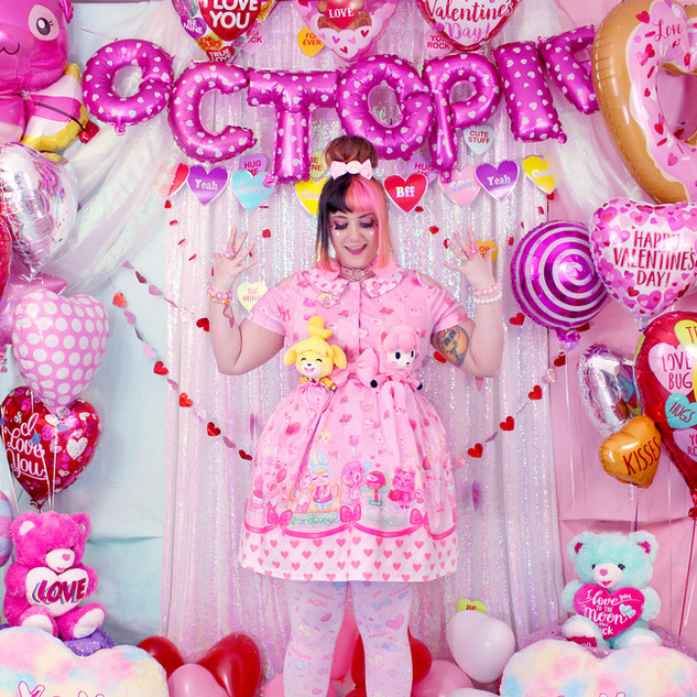 """💖 Pink """"Be My Valentine"""" Short Sleeve Cut Out Dress 💖 Pink """"AlpacaCorn Fluff"""" Tights"""