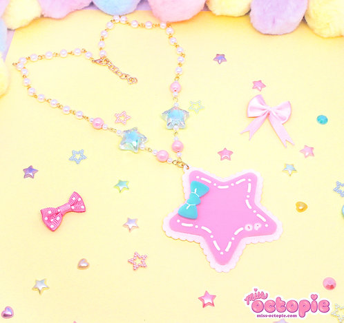 Pink Star Large Glitter Necklace