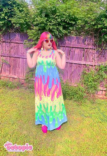 """Fashion Monster"" Drippy Sleeveless Empire Waist Maxi Dress"