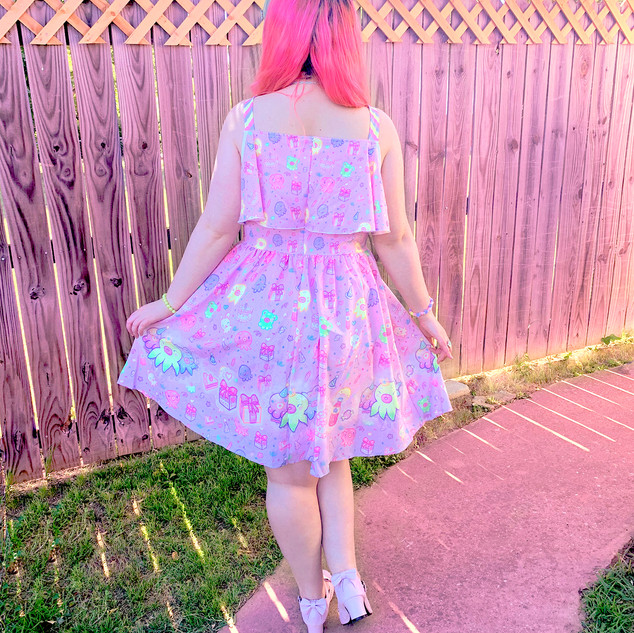 "🌸 Pink ""OctoParty"" Frilly Strap Dress"