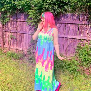 "🌸 Pastel ""Fashion Monster"" Drippy Empire Waist Dress"