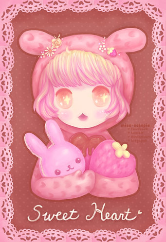 """Sweet Heart Bunny"" Art Print"