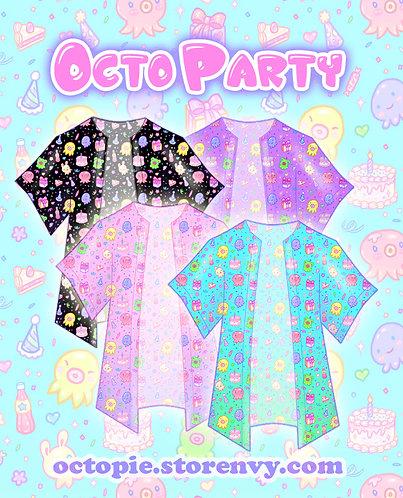 """OctoParty"" Chiffon Kimono Peignoir"