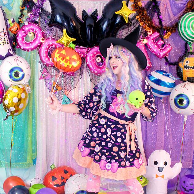 "🎃Black ""Spooky Cutie"" Kimono Dress 🎃Pink ""Starry Eyes"" Tights"