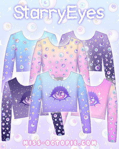"""""""Starry Eyes"""" Long Sleeve Crop Top"""