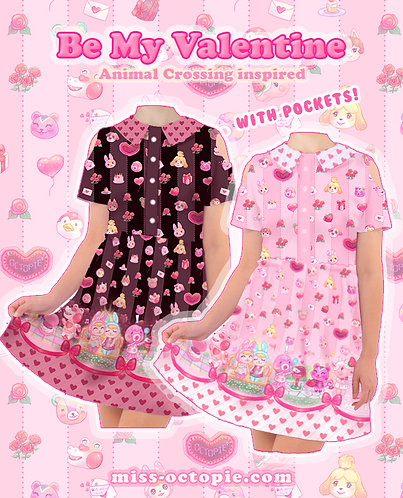 """""""Be My Valentine"""" Animal Crossing Short Sleeve Cut Out Dress"""