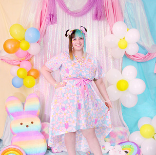 """🌸 Blue """"Daisy Cute"""" Flutter Sleeve High Low Dress"""