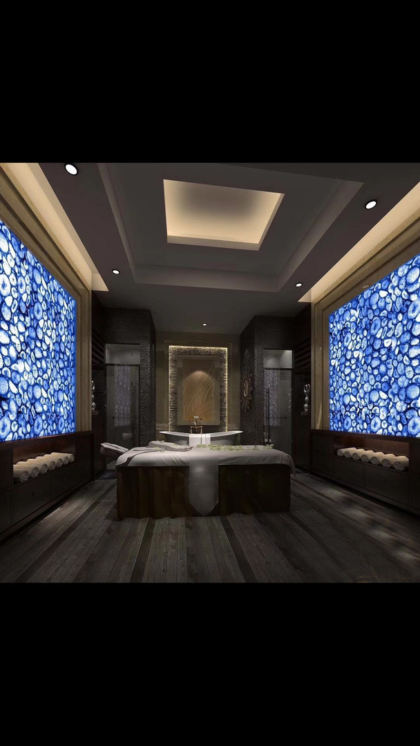 Luxury Spa interior walls in Blue Semiprecious Agate