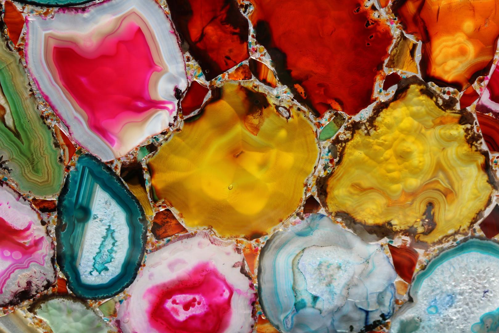 Backlit Multi-coloured Agate Gemstone