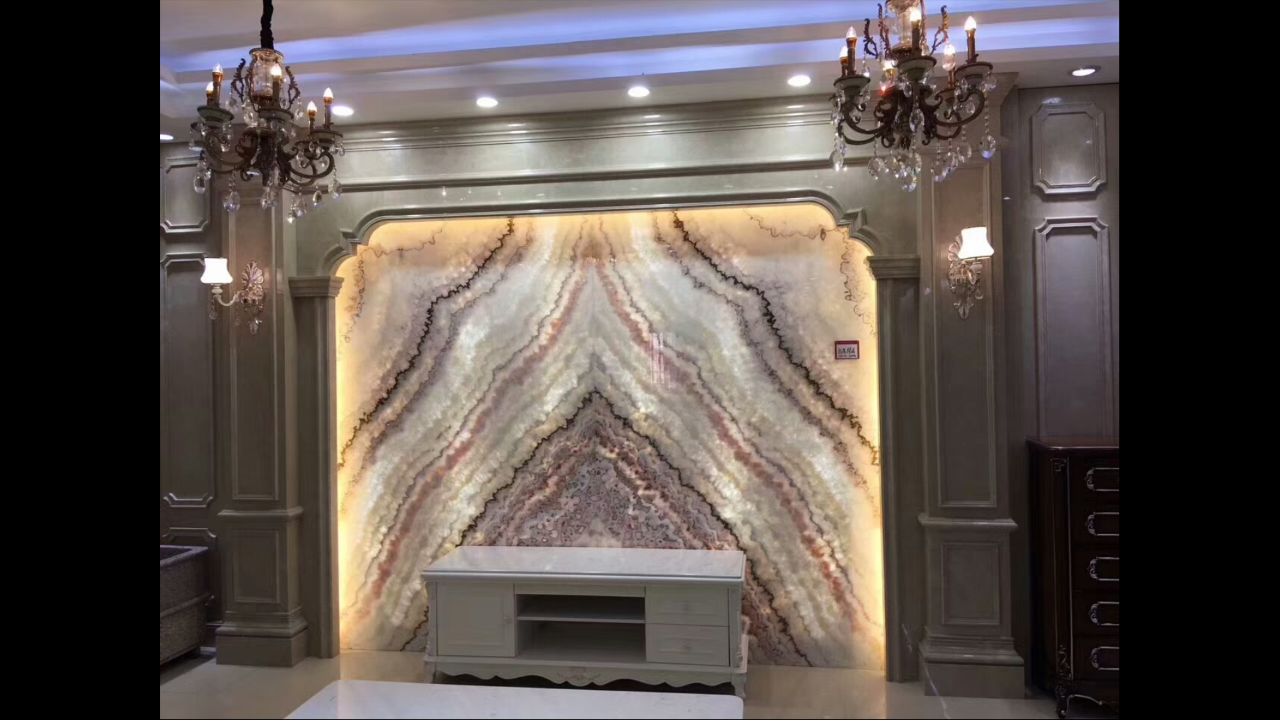 Backlit wall decoration in Rainbow Onyx