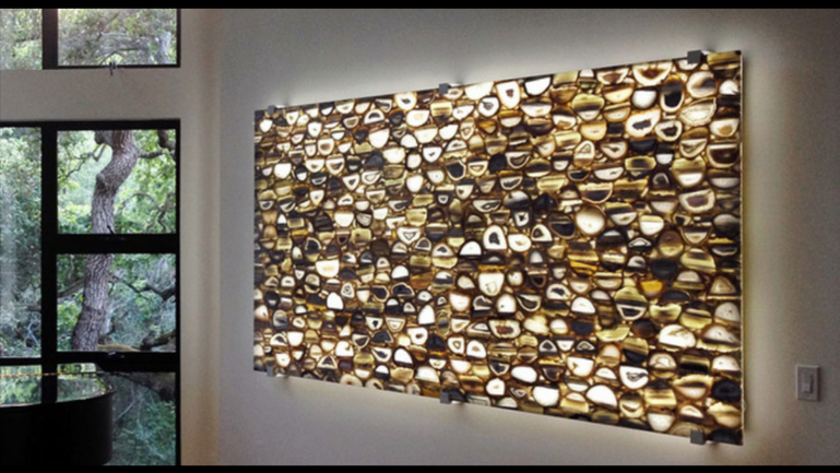 Feature wall in  Backlit Brown Agate