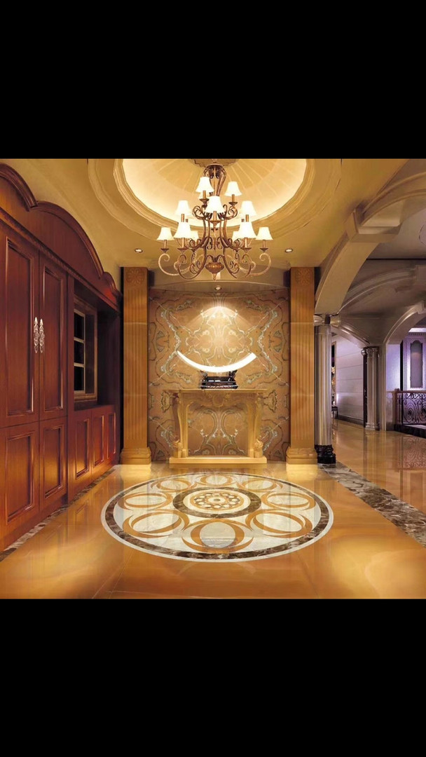 Luxury hotel interior in Honey Onyx and Marble
