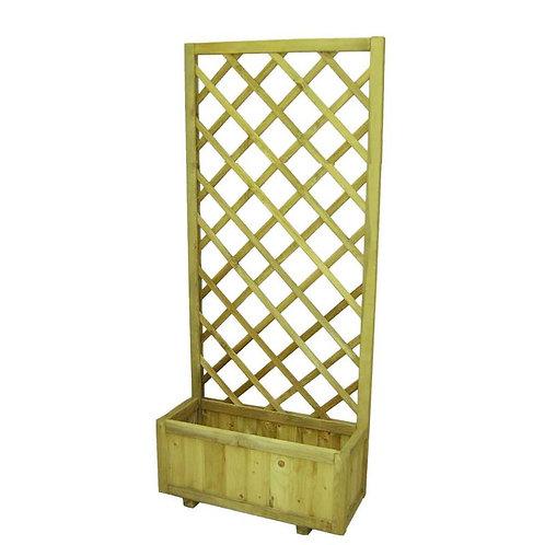 Fioriera con pannello in legno 250x100