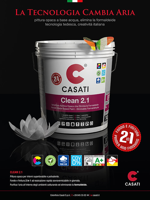 Pittura Superlavabile 2in1 CASATI CLEAN 2.1  elimina formaldeide