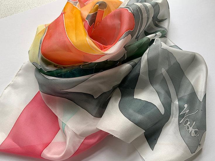 Håndmalet Silketørklæde / Hand Painted Silk Scarf / 100% silk / 90x90 cm