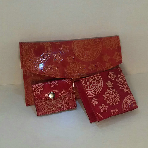 Astrological Red Leather Purse and Components