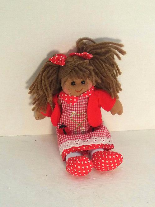 Ladybird Dress Rag Doll Small