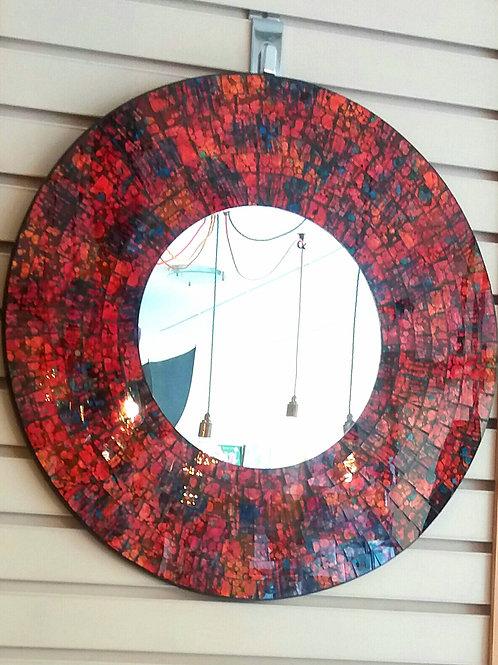 Round Red Mirror