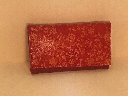 Floral Red Leather Purse