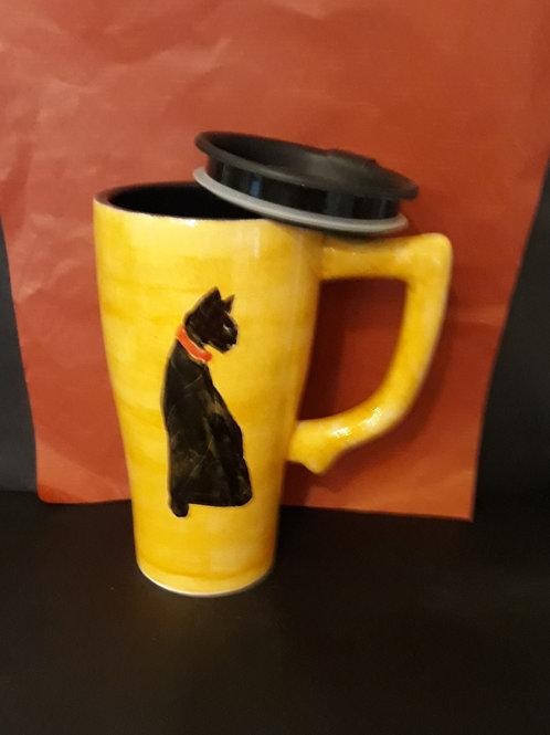 Large Ceramic Coffee/ Tea Travel Mug with Lid