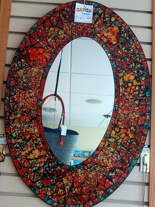 Large Oval Red Mirror
