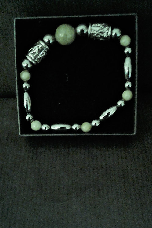 Handmade Celtic Bracelet with Pewter and Connemara Marble