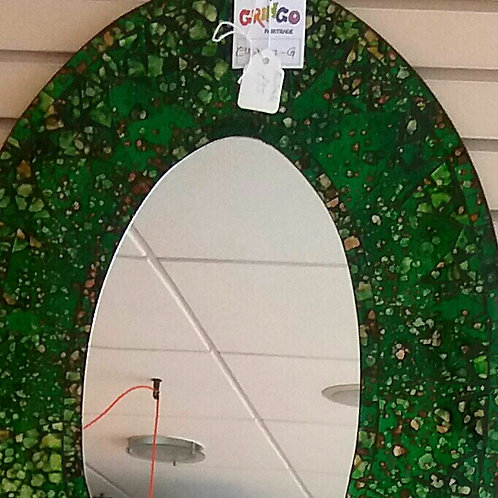 Large Green Oval Mirror