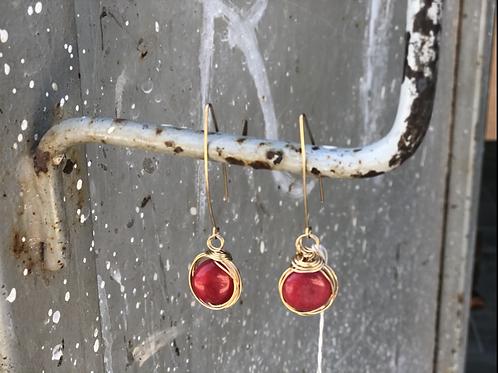 עגילים אבן אדומה