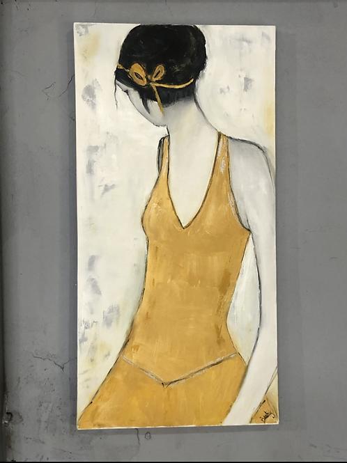 ציור שמן- האישה בצהוב