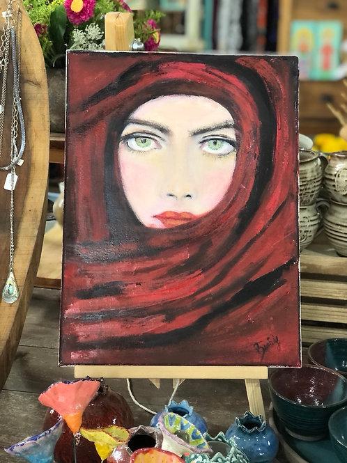 ציור שמן האישה באדום