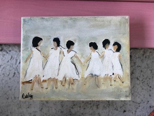 ציור שמן קטן-ילדות בלבן