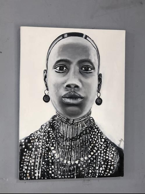 ציור שמן- שחור לבן
