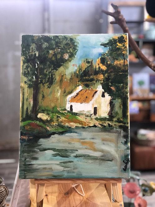 ציור שמן נוף הכפר