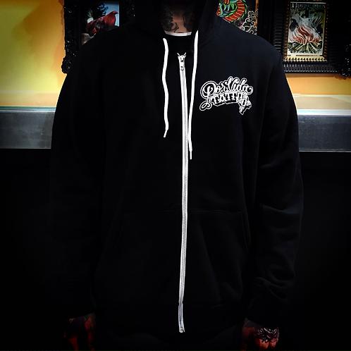 Por Vida Tattoo Supply/ Aaron Coleman zip up sweater