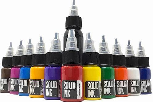 Solid Ink Mini Travel Set | (11) Half Ounce Colors + 1oz Black