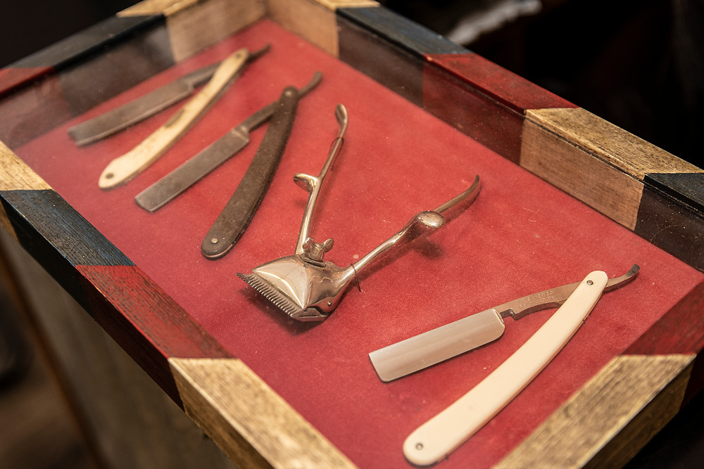 vintage salon tools in a box.